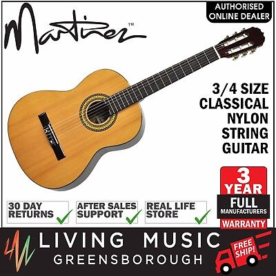 NEW Martinez Classical 3/4 Size Nylon String Guitar for Beginner (Natural Gloss)