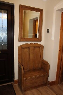 monk chair with storage and mirror - solid pine - Excellent condition