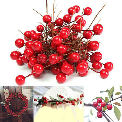 100x8mm Artificial Red Holly Berry Xmas Tree Party Home Hanging Ornament Decor