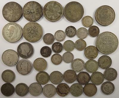 Best Offer! Great Britain Silver Lot! Shillings, Florins+more! 1820's to 1940's
