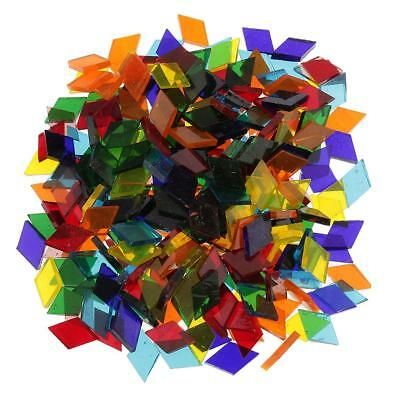 250x Colorful Rhombus Glass Mosaic Tiles Pieces for Mosaic Making Craft 11mm