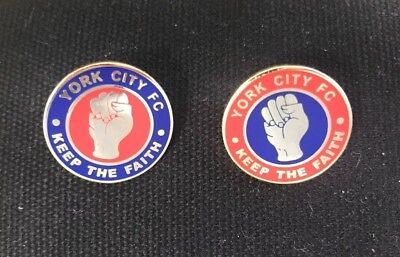 YORK CITY FC - KEEP THE FAITH PIN BADGE x 2 - RED / BLUE & BLUE / RED