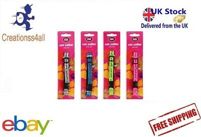 Cat Safety Clip Collar with Bell in Various Colour Pink, Blue, Green & Silver