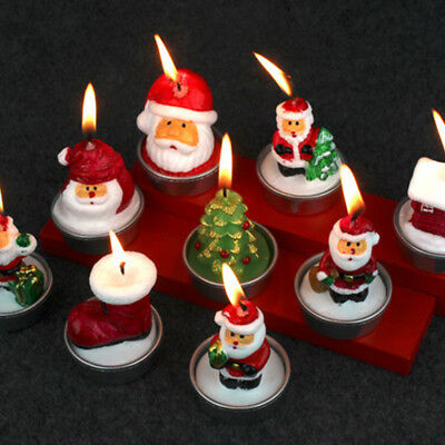 New 3pcs Xmas Eve Santa Claus Candles Cute Christmas Party  Gift Home Decoration