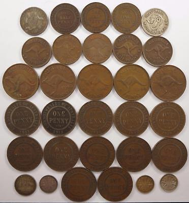 Best Offer! Australia coin lot, Pennies, Shillings, and more, 1910's to 1940's
