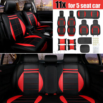 11PCS LUXURY 5-Seat Breathable Leather Cushion Car Seat Cover Full Set Red Black