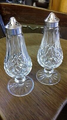 19th C. WATERFORD CRYSTAL CUT GLASS SALT & PEPPER SHAKERS IRISH CRYSTAL