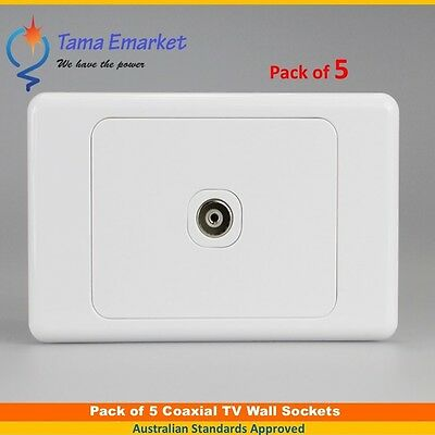 5 X Single Coaxial Outlet TV Aerial Plug Socket Wall Mount Gloss White