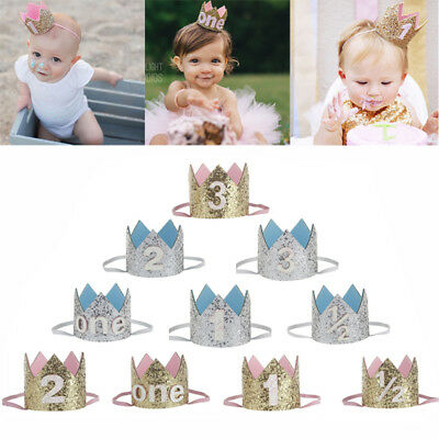 Unisex Baby Infant Toddler Sequin Happy 1st 2nd 3rd Birthday Party Crown Hat UK