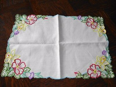 Vintage 1950s Hand Embroidered Linen Table Mat - Coronation Commemorative VGC