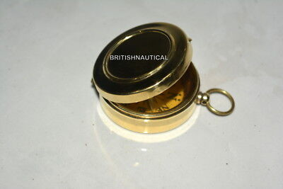 COLECTIBLE Antique FLATMagnification  Brass  COMPASS WORKING COMPASS
