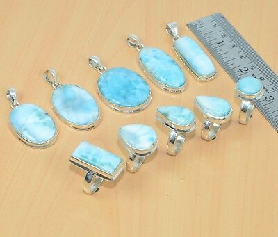 Wholesale 10Pc 925Solid Sterling Silver Naturalblue Larimar Pendant-Ring Set Lot