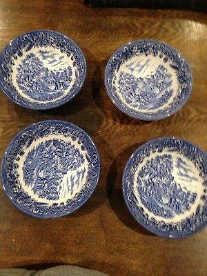 Willow Bowls - Very Old  X 4, 15cm Diameter Each Bowl
