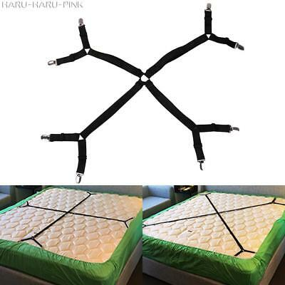 Adjustable Fitted Bed Mattress Sheet Clips Grippers Straps Suspender Fasteners