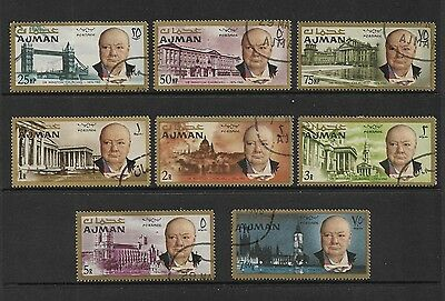 AJMAN - 1966 Churchill Commemoration, set of 8