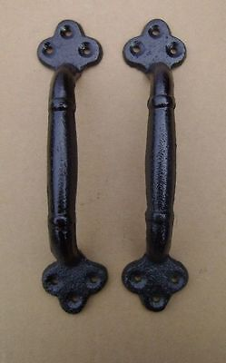 "2 ea Large 9"" Cast Iron Gate Pull Barn Door Shed Pull Handle Black Finish"