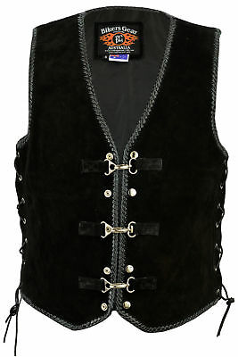 New Motorcycle Classic Braided Trim Side Laced Black Leather Vest
