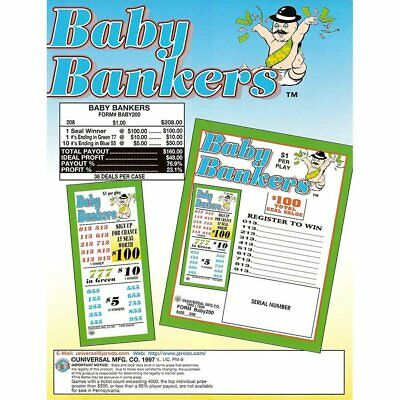 """""""Baby Bankers"""" 5 Window Pull Tab Tickets - 208 Tickets Per Deal - Payout: $160"""