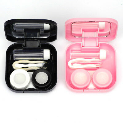 Mini Contact Lens Storage Case Box Travel Kit Holder with Tweezer Container