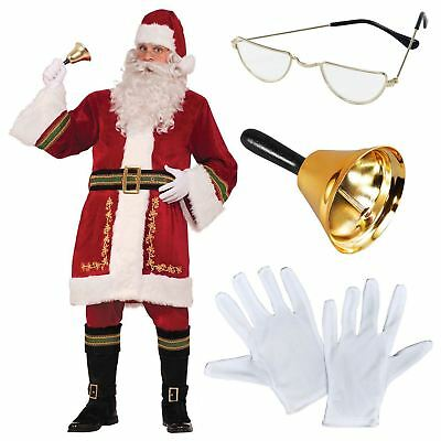 Deluxe Traditional Men's Santa Claus Father Christmas Suit Fancy Dress Costume