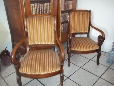 french classic mahogany antique pair of colonial empire libary armchairs
