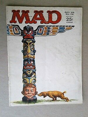 Vintage Mad Magazine October 1962 #74 Published by EC, Totem Pole Cover