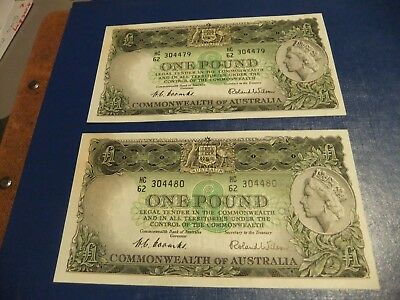 Consecutive  Numbers Australian  One  Pound  Notes