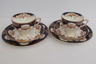 Sampson Smith Wetley China Handpainted Cobalt and Gilt Pair of Trios.c.1925-1930