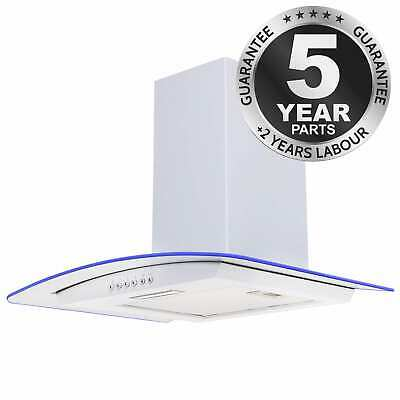 SIA CPLE61WH 60cm 3 Colour LED Curved Glass White Cooker Hood Extractor Fan
