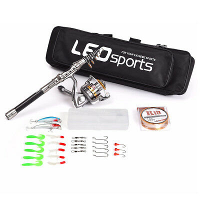 Fishing Rod Reel Combo Spinning Reel Pole Set with Fishing Line Lures Hooks