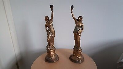 Pair Of Spelter Figurines.  L'Industrie and Le Commerce.  Height approx 31cm