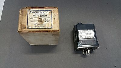 New! MACROMATIC SS-50221-22 Solid State Time Delay Relay, 220 VAC
