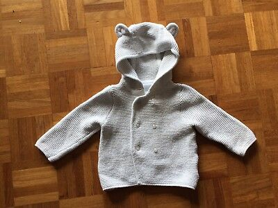 The Little White Company Grey Bear Cardigan 3-6 Months