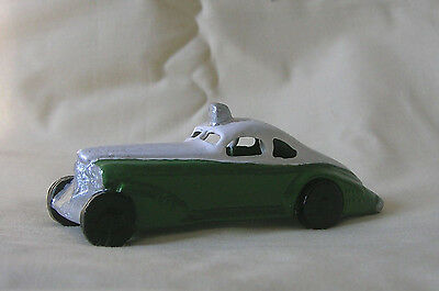 Police Car in green & white, Reproduction dimestore 1930s model train accessory