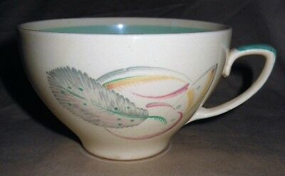 Susie Cooper Art Deco Kestrel Large Cup, Blue/Green Feather Pattern