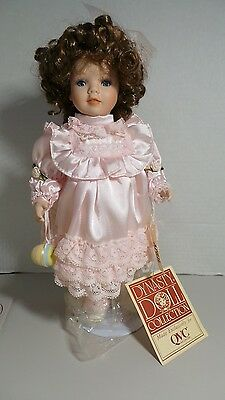"""Dynasty Doll Collection Easter """"April"""" Girl 12"""" Porcelain Bisque Doll with Stand"""