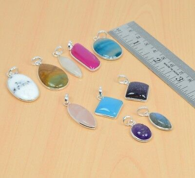 Wholesale 10Pc 925 Solid Sterling Silver Pink Botswana Agate Pendant Lot L093