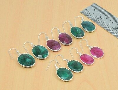 Wholesale 5Pc 925 Solid Sterling Silver Faceted Red Ruby Nice Hook Earring Lot
