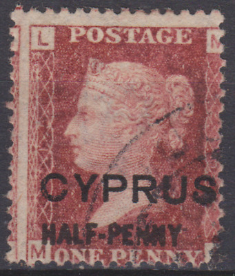 Cyprus 1881 Used half-penny on 1d Red  SG9 Pl 215 Cat £70