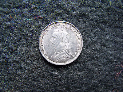1887 Queen Victoria  .925 Silver British Sixpence Penny 6d Coin
