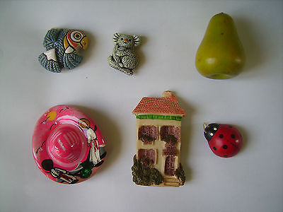 Lot 6 Magnets Aimants Koala Coccinelle Poire Oiseau.... Resine Bois Ceramique