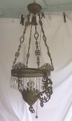 Antique Victorian Ornate Art Deco Brass Hanging Oil/Kerosene Lamp Electric Works