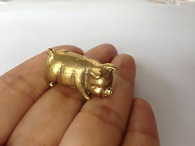 Pig Brass Miniature Charm Figurine Vintage Lucky Collectible Statue Animal home