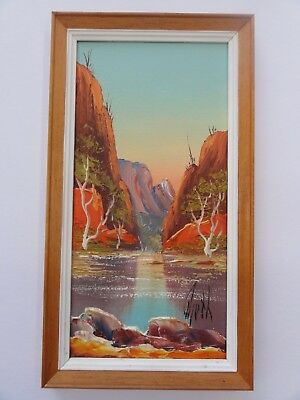 Original Framed Oil Painting Henk Guth Central Australian Landscape