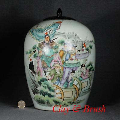 Chinese qianjiang jar with warriors and inscription, polychrome porcelain