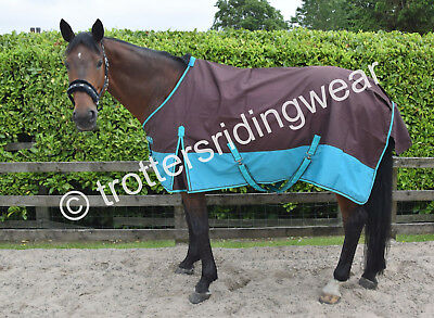 Lightweight Turnout Rug/Rain Sheet /No Fill Brown/Turquoise Horse & Pony Sizes