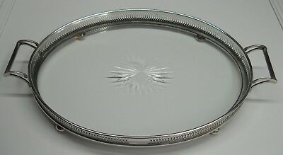 """Vintage TIFFANY & CO. Sterling Silver and Glass Tray * 14"""" Not Counting Handles"""