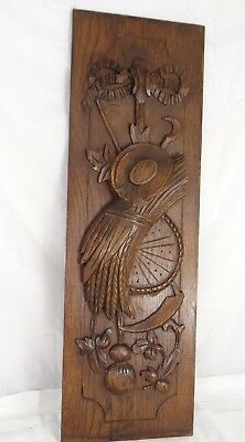 Antique Carved Architectural Oak Door Panel Wood - Sheaf of Wheat, Sickle, Hat
