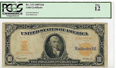 1907 $10 Gold Certificate Graded 12 Fine By PCGS FR 1171