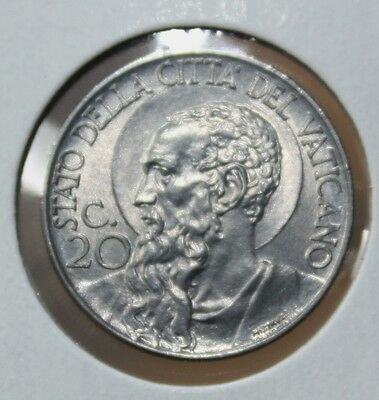 Vatican City 1940 - 20 Centesimi - KM# 24a - Stainless Steel - Pope Pius XII